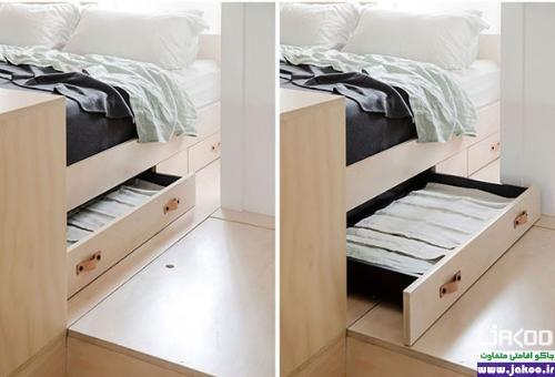 قفسه های زیر تخت خواب در آپارتمان های کوچک