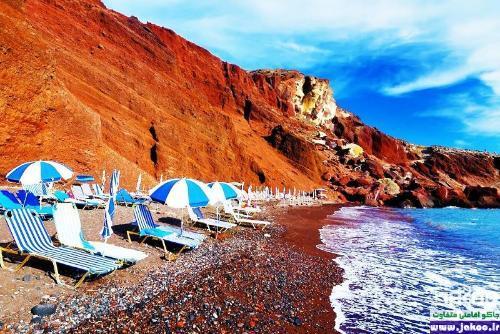 ساحل سرخ جزیره ی زیبای سانتورینی در یونان