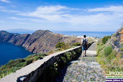پیاده گردی در مسیرهای زیبا، جزیره ی زیبای سانتورینی در یونان