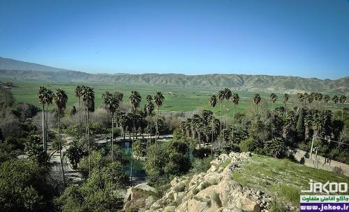 طبیعتی دلنشین درختان متعدد و رودهای روان و پرندگان دیدنی در باغ چشمه بلقیس